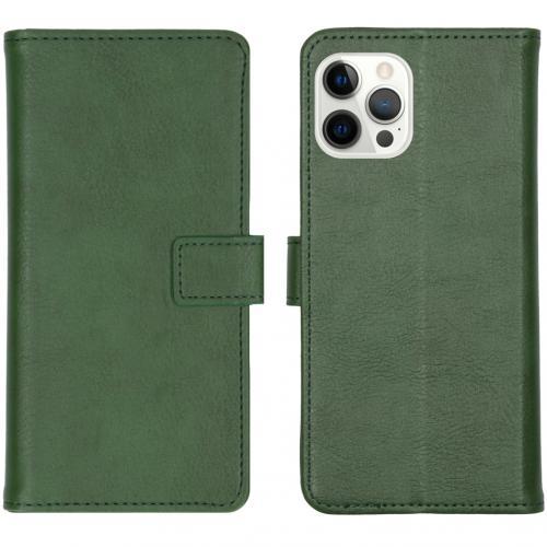 Luxe Booktype voor de iPhone 12 Pro Max - Groen