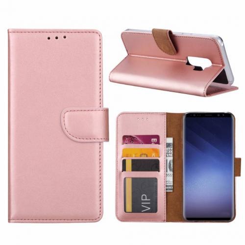 Luxe Lederen Bookcase hoesje  Metallic Roze