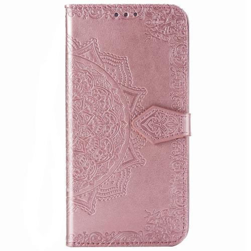 Mandala Booktype voor de iPhone 12 6.1 inch - Rosé Goud