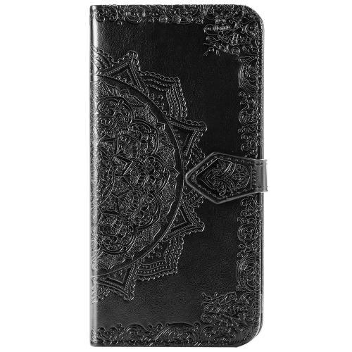 Mandala Booktype voor de iPhone 12 6.1 inch - Zwart
