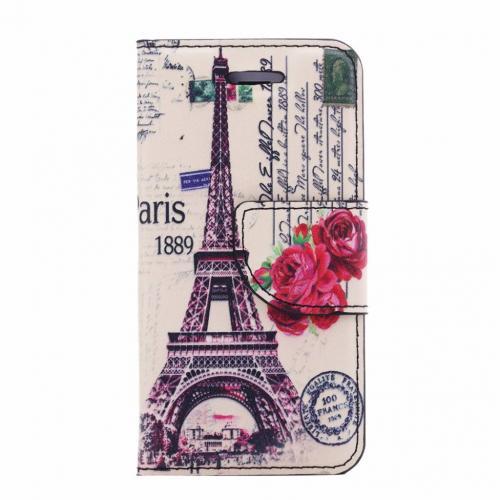 Parijs print lederen bookcase hoesje