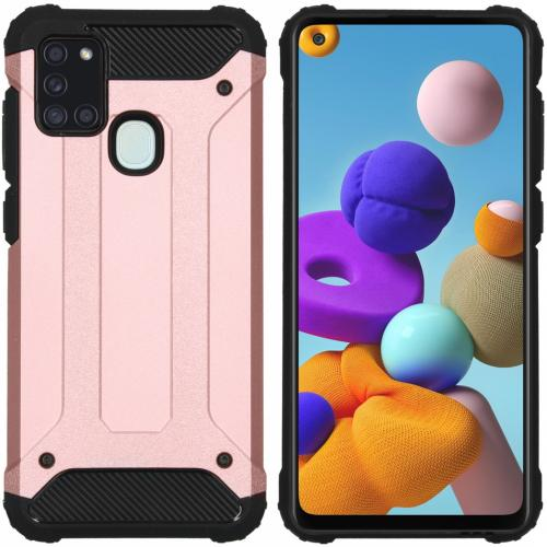 Rugged Xtreme Backcover voor de Samsung Galaxy A21s - Rosé Goud