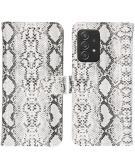 Slangenprint Booktype voor de Samsung Galaxy A52 (5G) / A52 (4G) - Wit