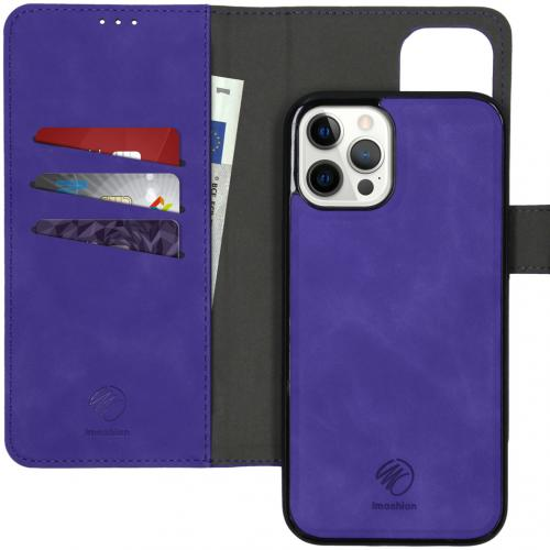 Uitneembare 2-in-1 Luxe Booktype voor de iPhone 12 Pro Max - Paars